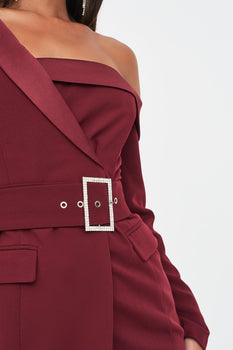 Off Shoulder Tux Mini Dress in Burgundy