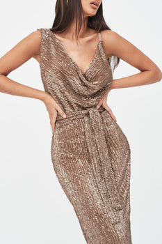 Pleated Sequin Cowl Neck Midi Dress in Gold