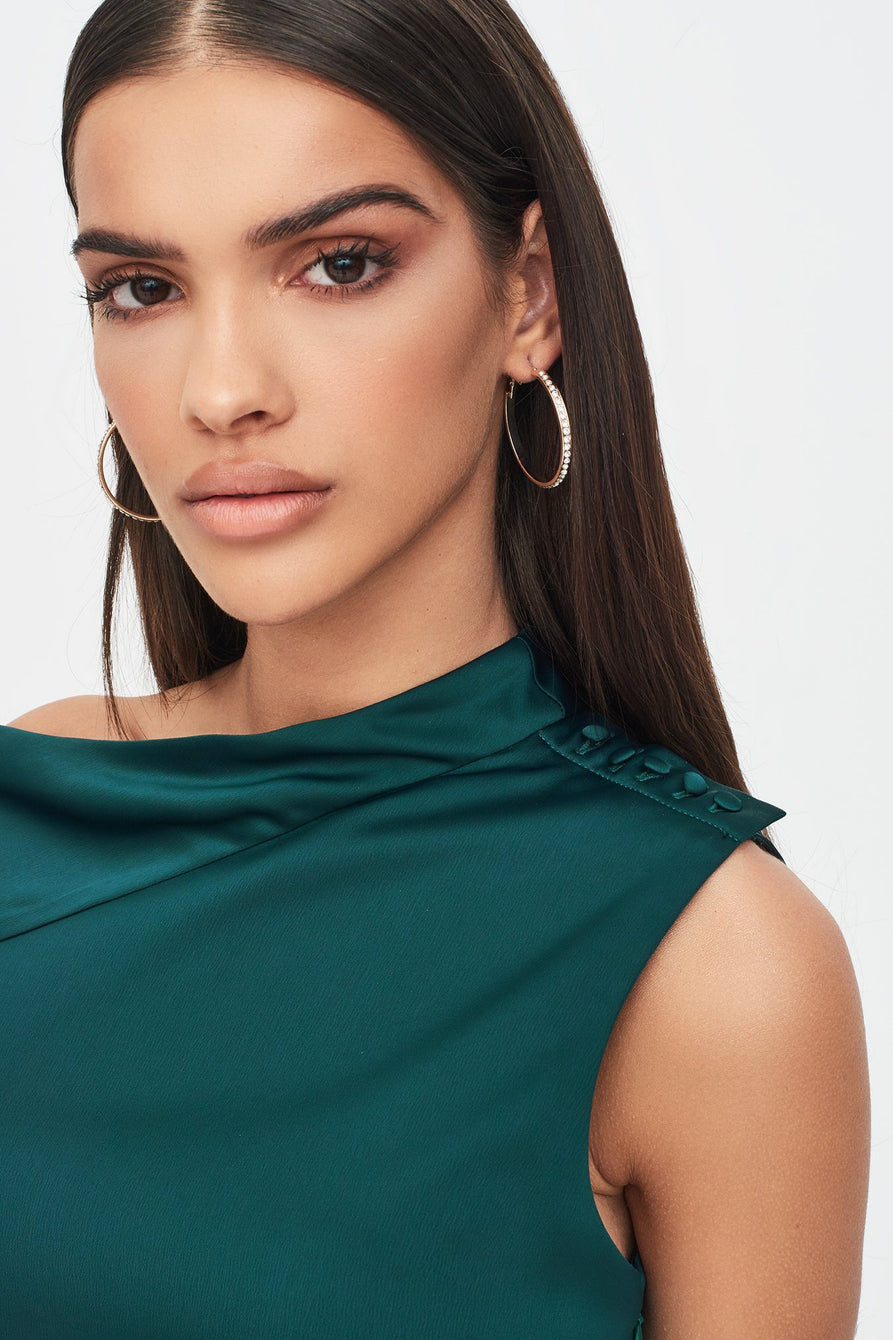 Satin Cut Out Shoulder Wrap Dress in Emerald Green