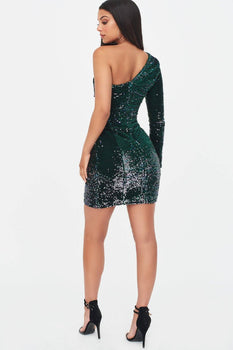 Velvet Sequin One Shoulder Dress in Emerald Green