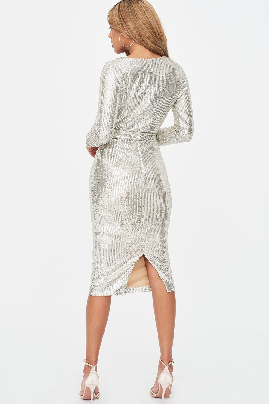 Stretch Sequin Cowl Neck Midi Dress in Silver