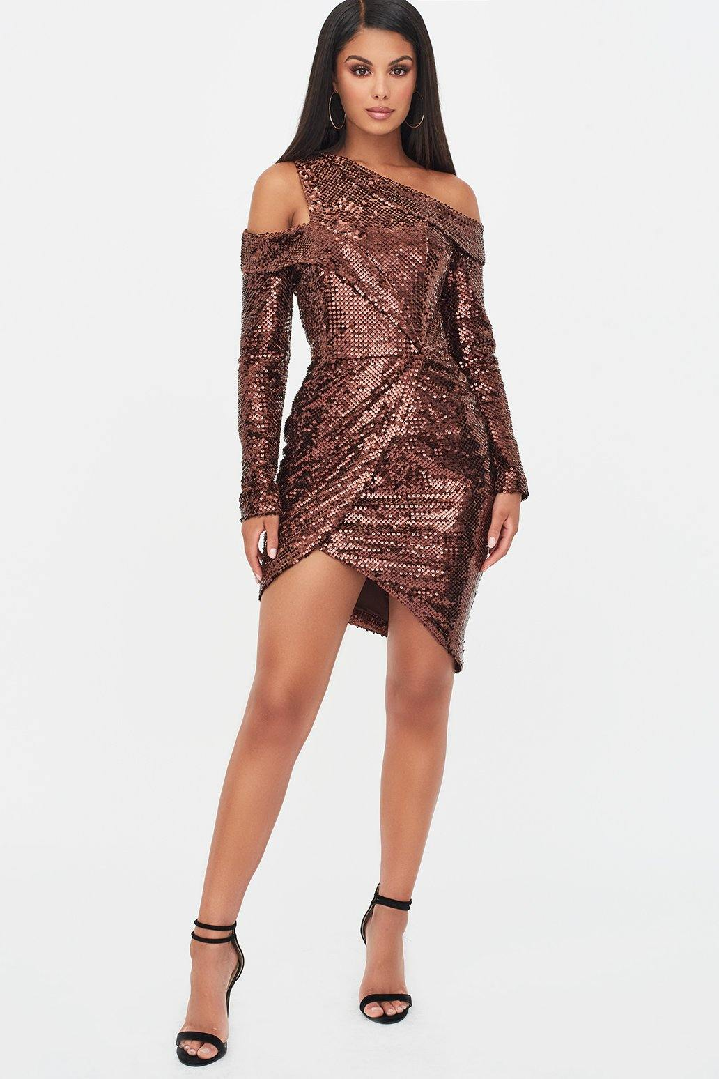 Lavish Alice Velvet Sequin Cut Out Wrap Dress in Chocolate