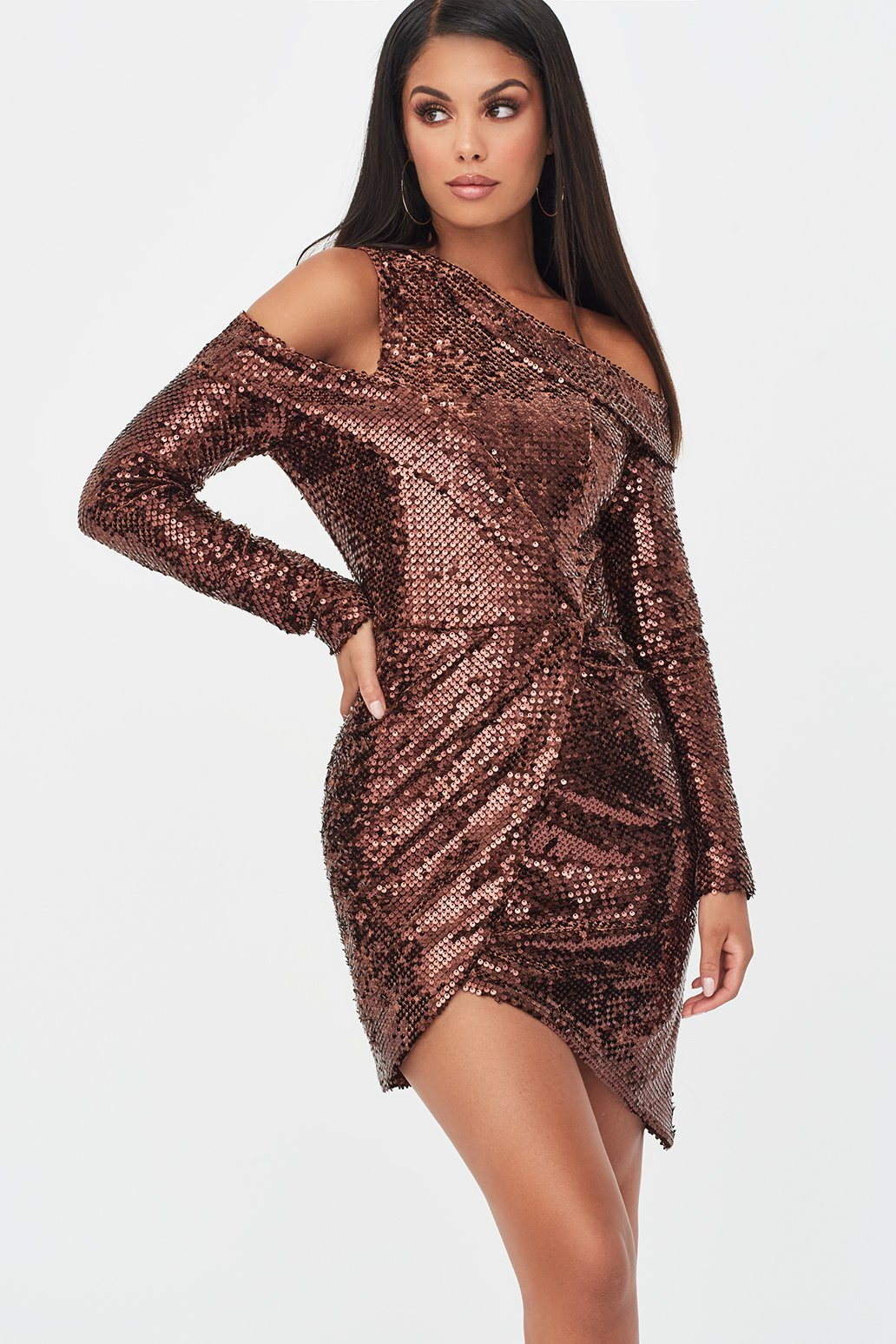 Velvet Sequin Cut Out Wrap Dress in Chocolate