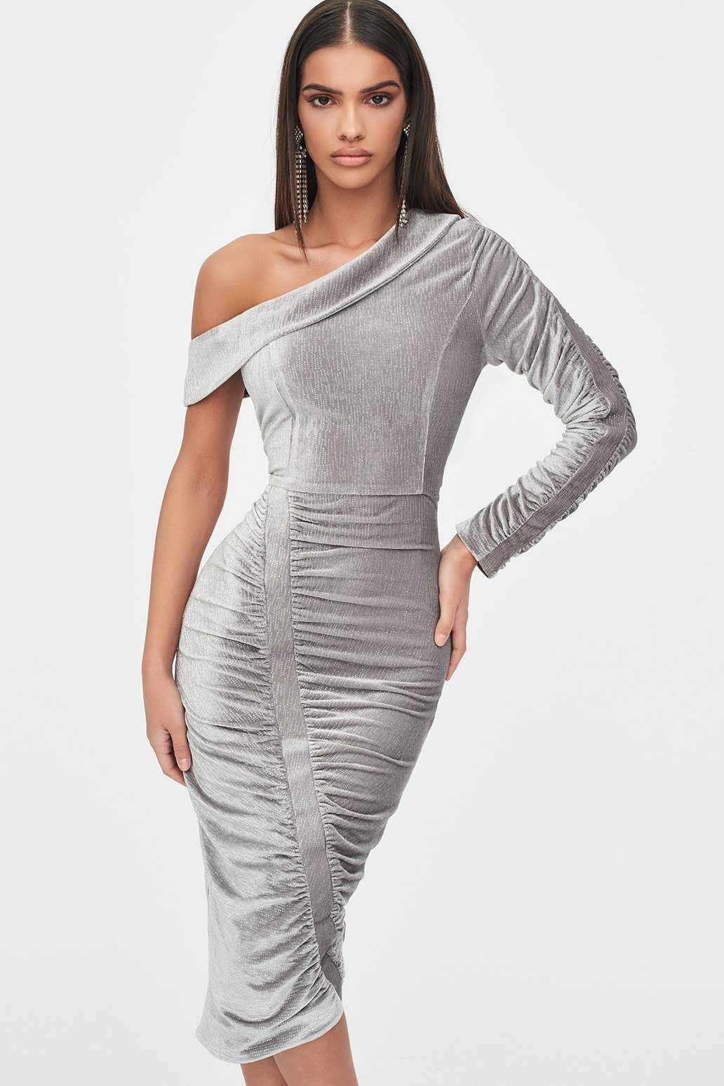 Lavish Alice Rosie Connolly One Sleeve Gathered Velvet Diamante Midi Dress in Silver Grey