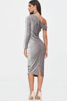 Rosie Connolly One Sleeve Gathered Velvet Diamante Midi Dress in Silver Grey