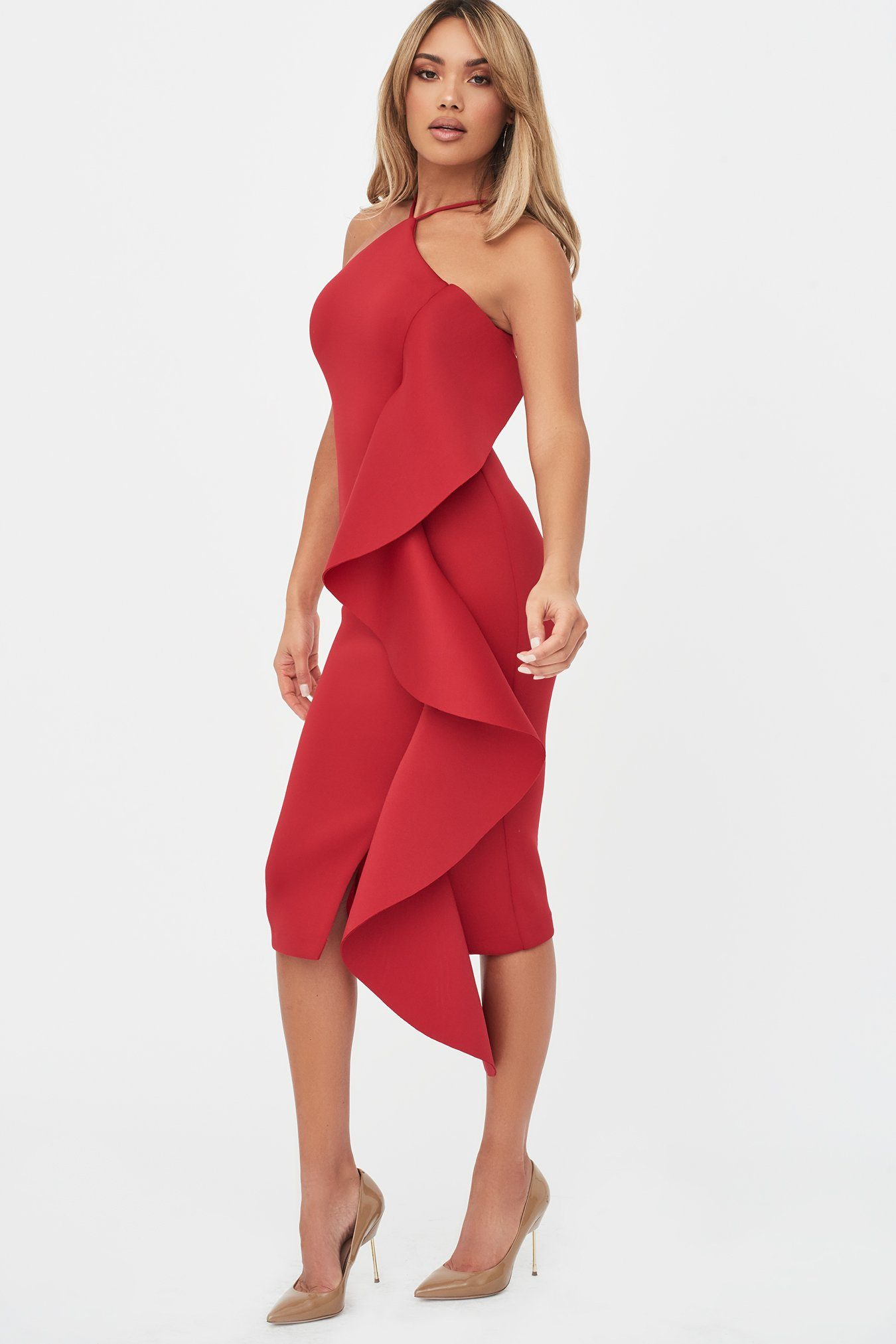 Strappy Ruffle Scuba Midi Dress in Crimson