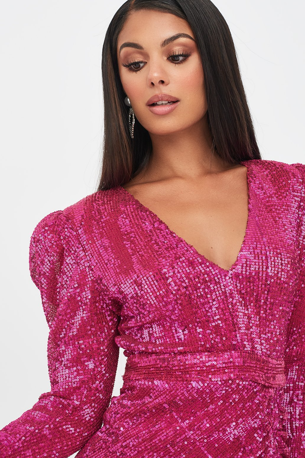 Puff Shoulder Pleated Sequin Mini Dress in Pink