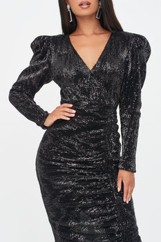 Puff Shoulder Pleated Sequin Midi Dress in Black