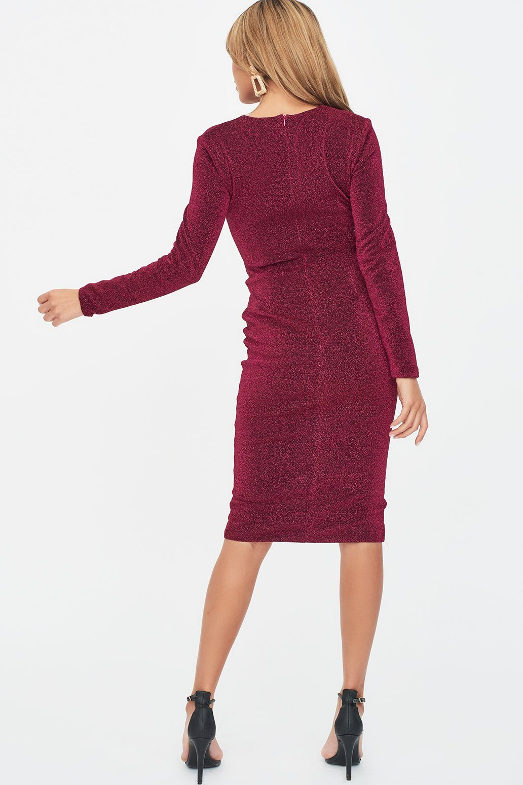Button Detail Glitter Lurex Midi Dress in Magenta Pink