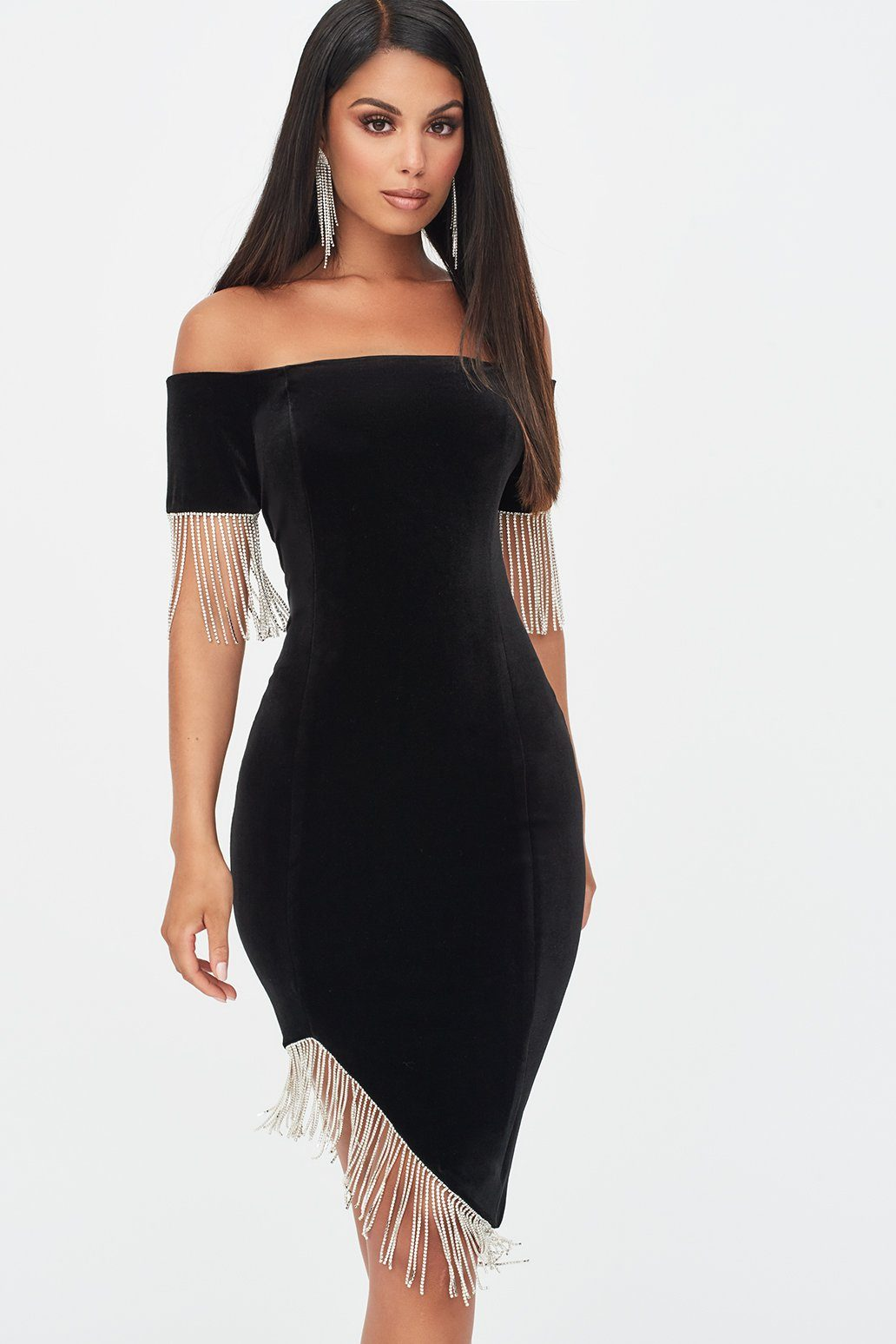 Lavish Alice Velvet and Diamante Bardot Midi Dress in Black