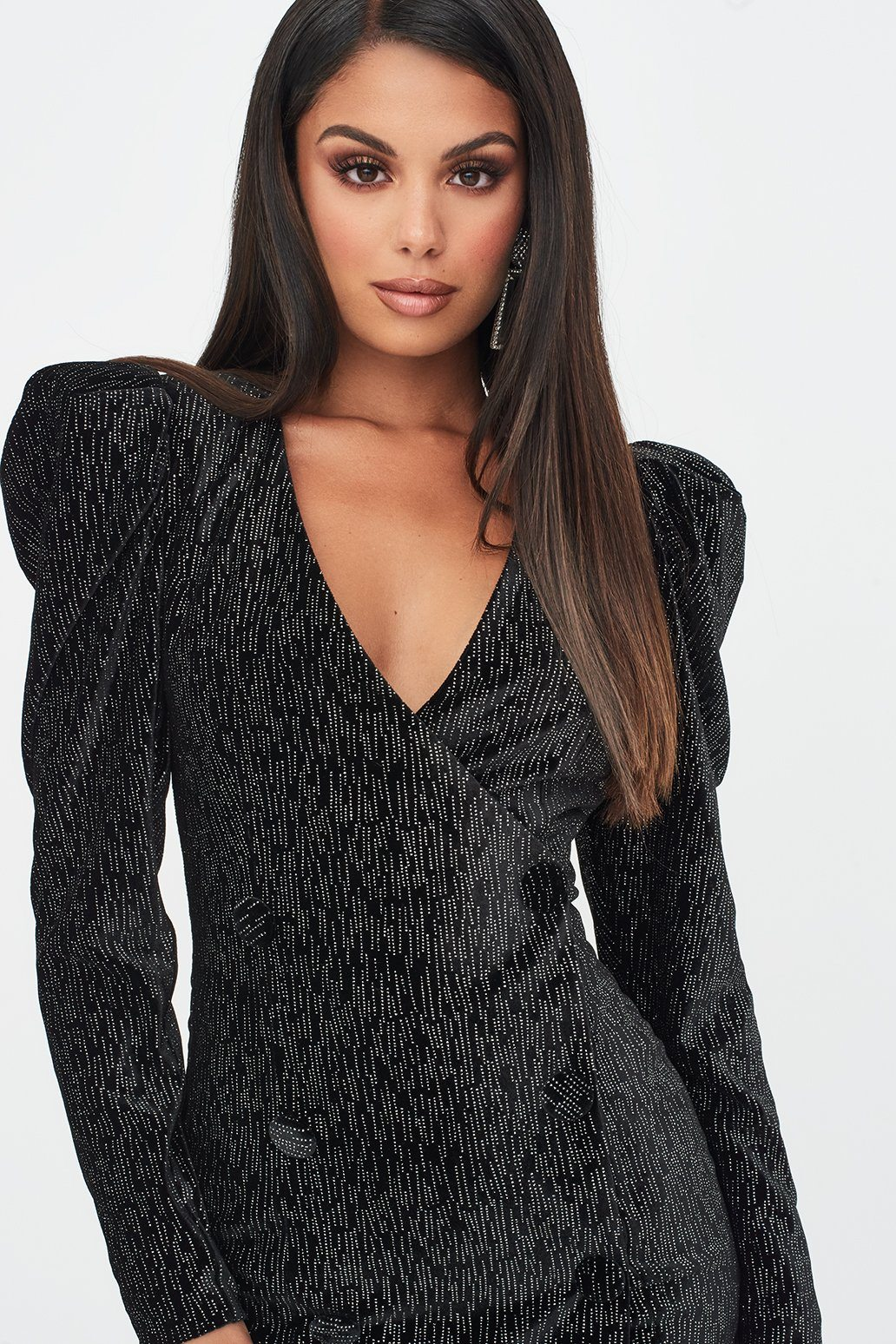 Rosie Connolly Puff Shoulder Mini Dress in Diamante Black Velvet