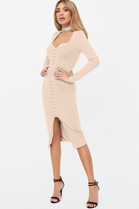 Square Neck Corset Midi Dress in Beige