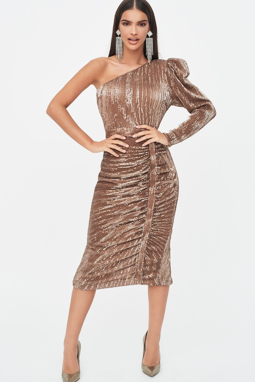 Lavish Alice Rosie Connolly Puff One Shoulder Sequin Midi Dress in Gold