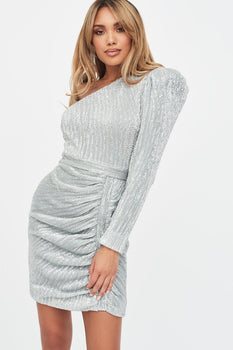 Structured One Shoulder Sequin Mini Dress in Silver