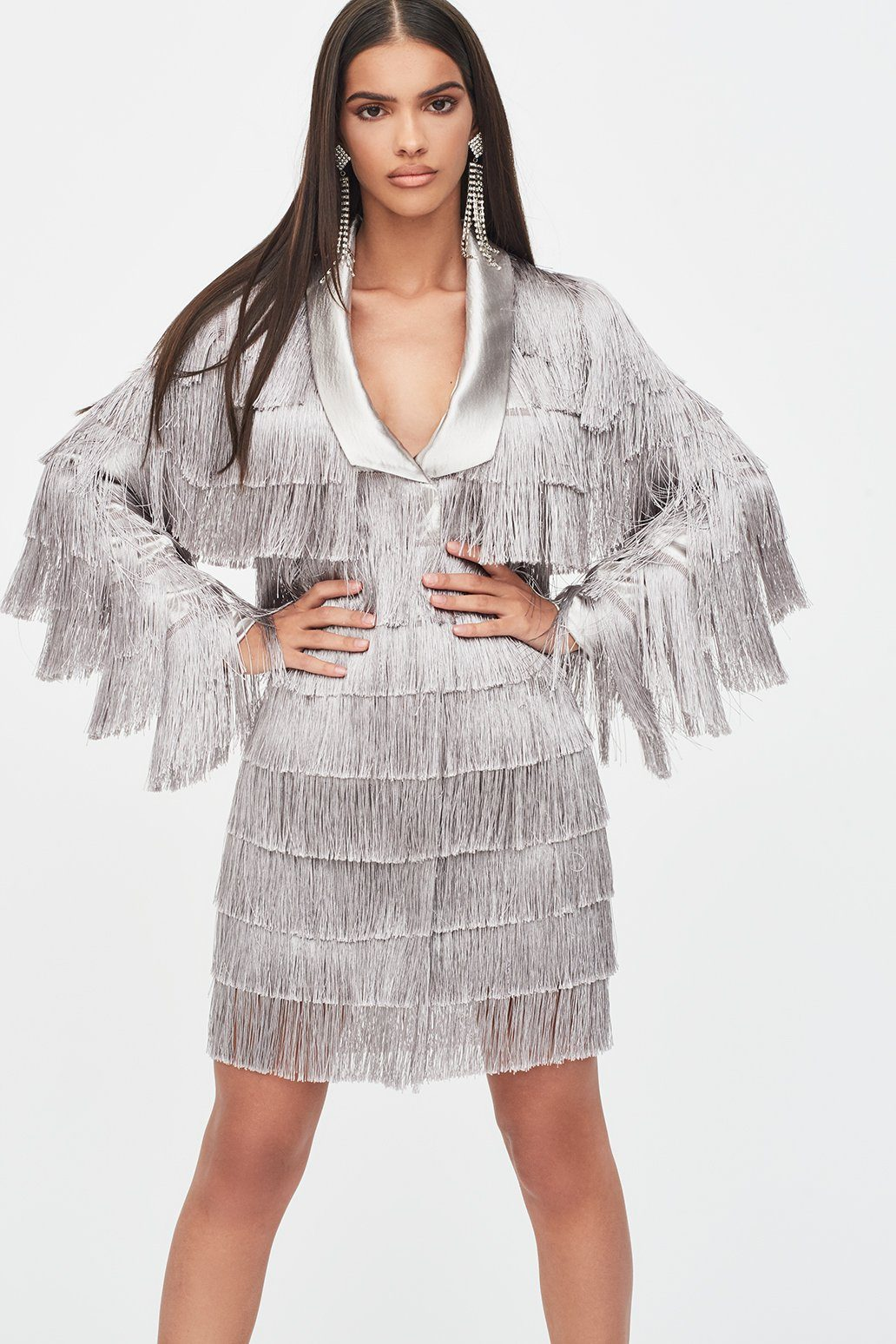 Fringe Blazer Dress in Metallic Silver
