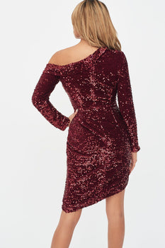 Velvet Sequin Asymmetric Mini Dress in Burgundy