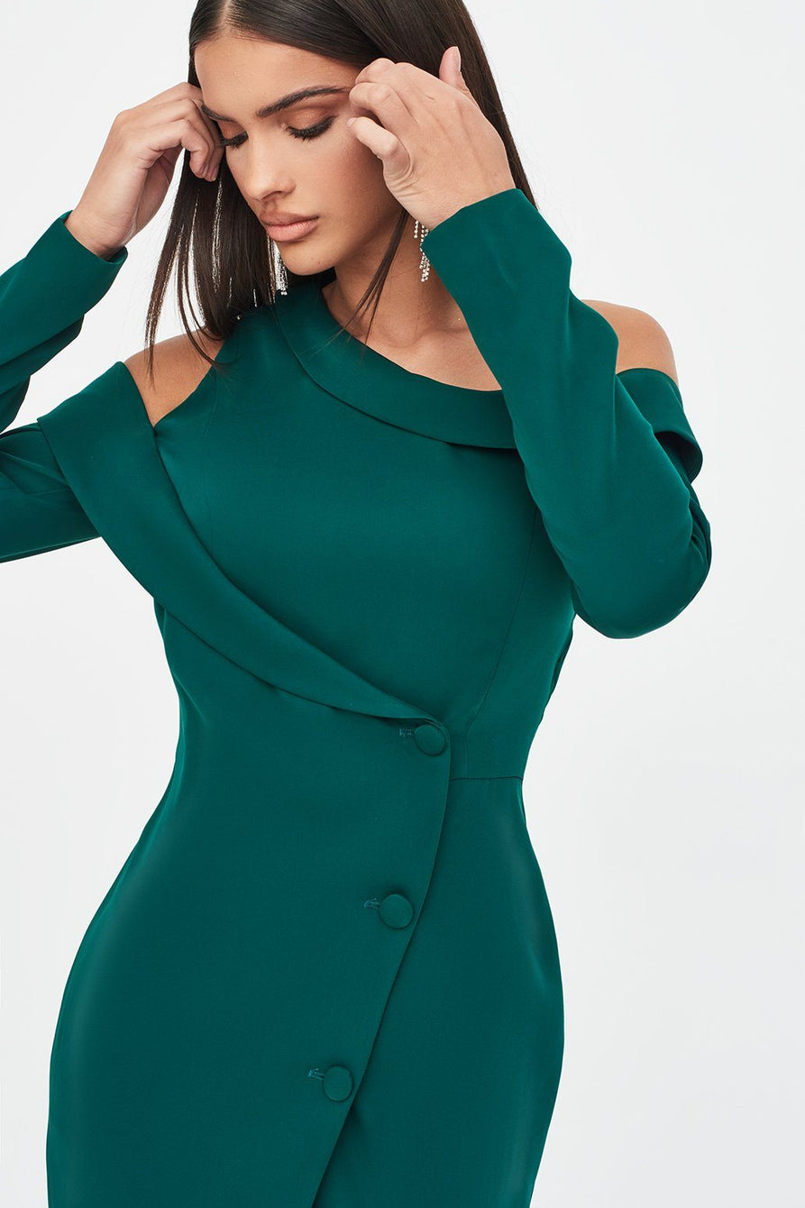 Asymmetric Blazer Midi Dress in Emerald Green