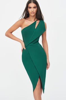 One Shoulder Cutout Midi Wrap Dress in Emerald Green