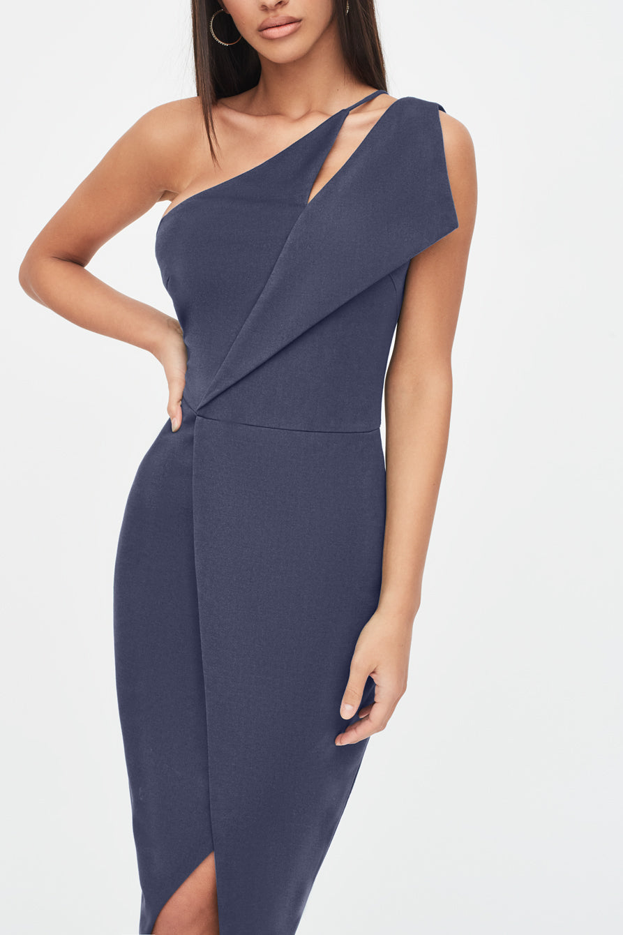 One Shoulder Cut Out Midi Wrap Dress in Navy Blue