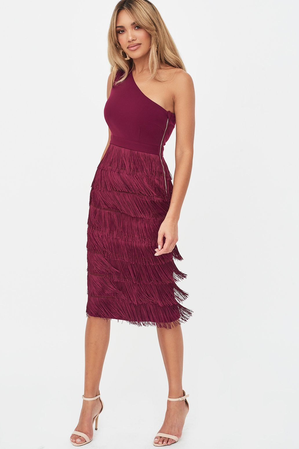 Lavish Alice One Shoulder Fringe Midi Dress in Burgundy