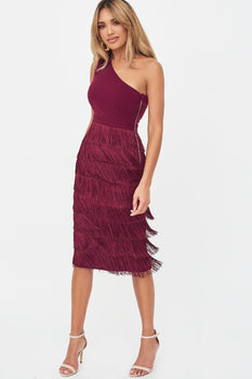 One Shoulder Fringe Midi Dress in Burgundy