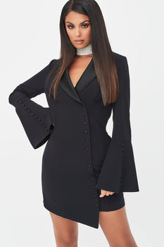 Rosie Connolly Button Detail Blazer Mini Dress in Black