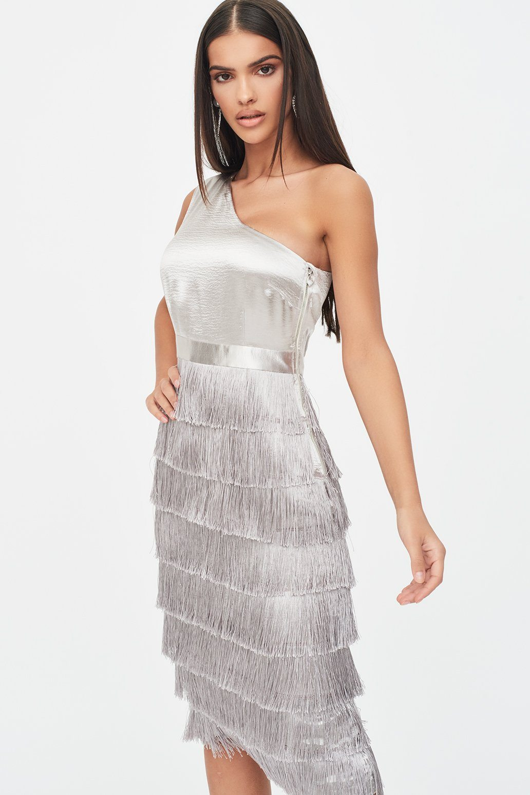 Rosie Connolly One Shoulder Fringe Dress in Metallic Silver