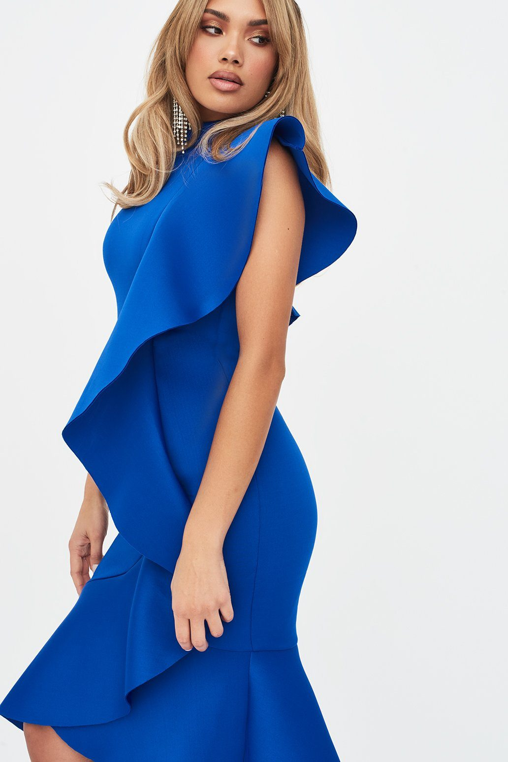 Extreme Frill Peplum Hem Scuba Midi Dress in Cobalt