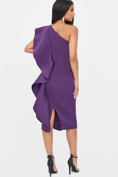 One Shoulder Scuba Frill Midi Dress in Purple