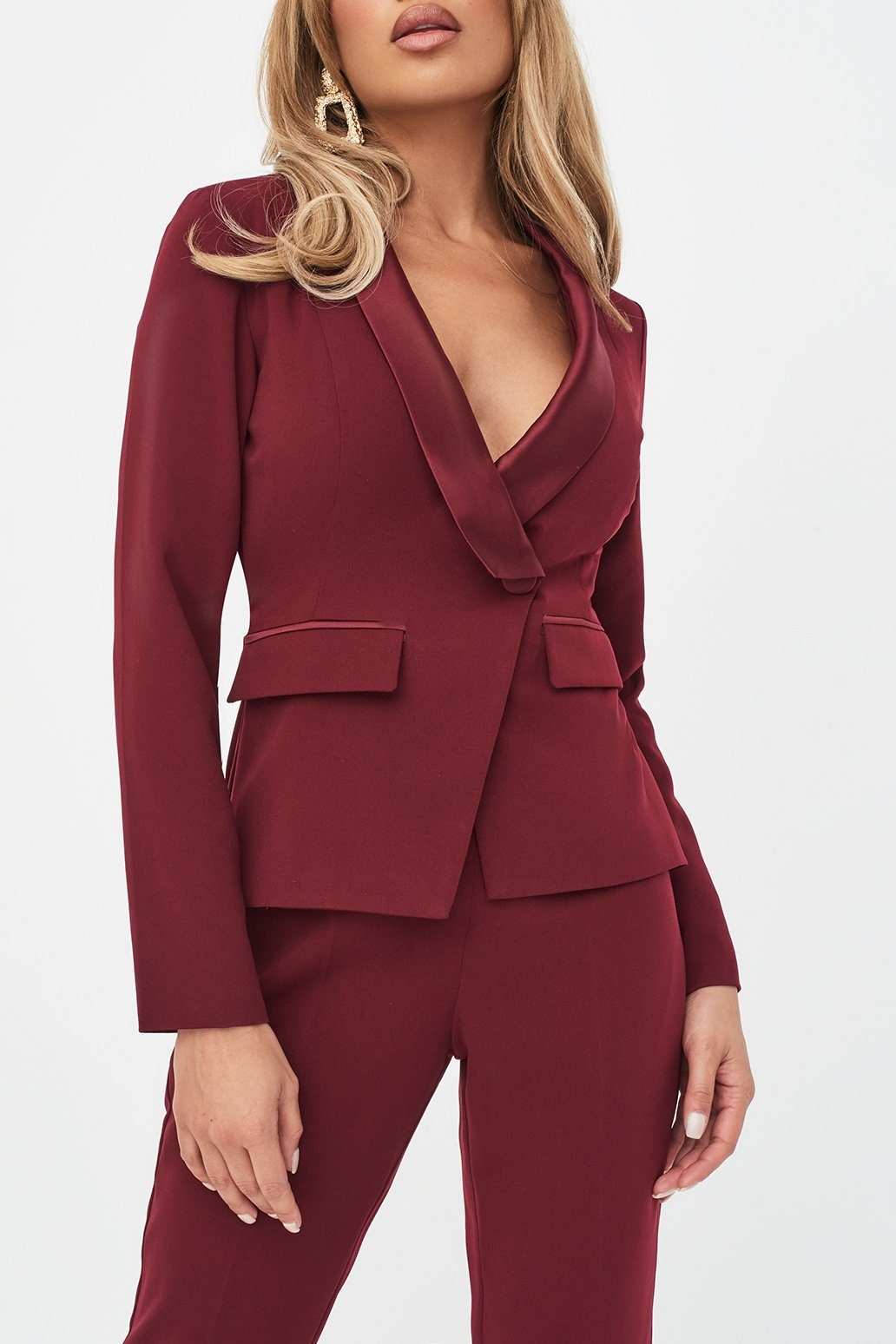 Rosie Connolly Cut Out Back Satin Mix Tailored Jumpsuit in Burgundy