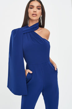 One Shoulder Cape Jumpsuit in Navy