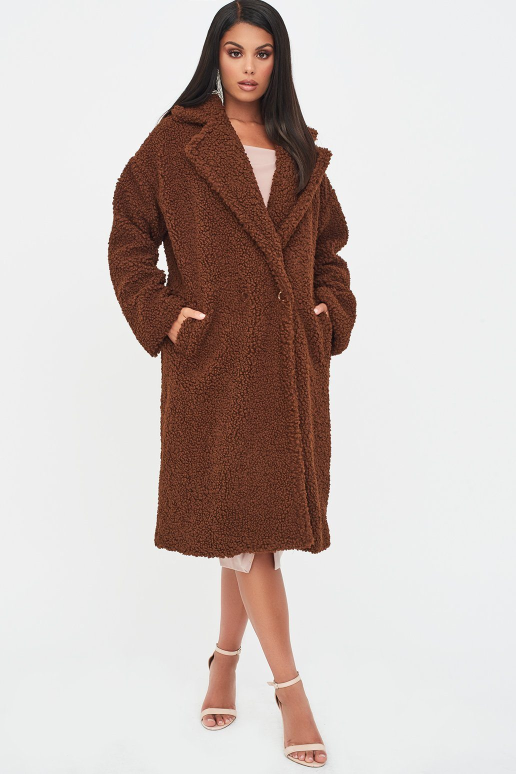 Curly Borg Coat In Brown