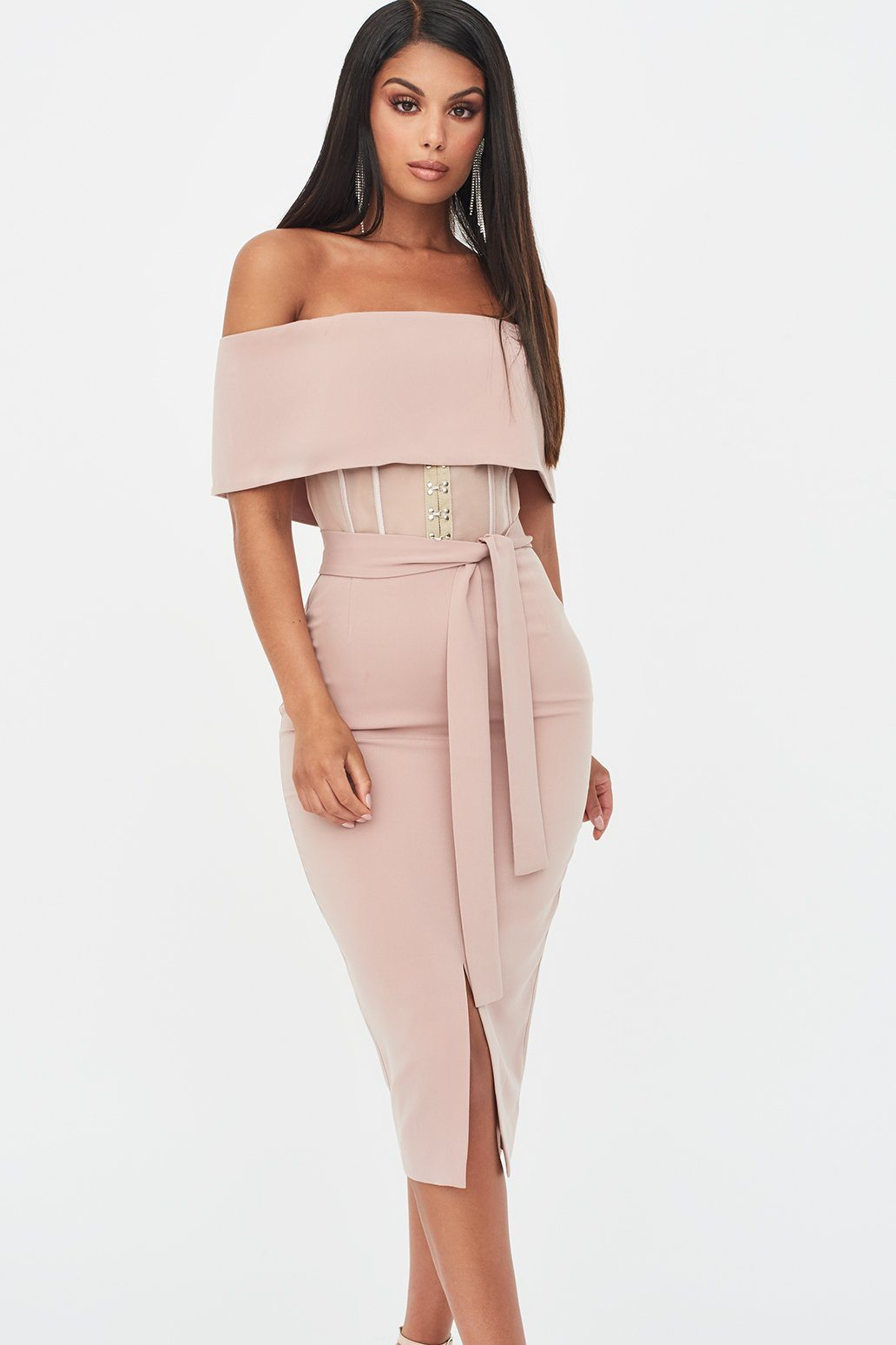 Rosie Connolly Sheer Corset Bardot Midi Dress in Mink
