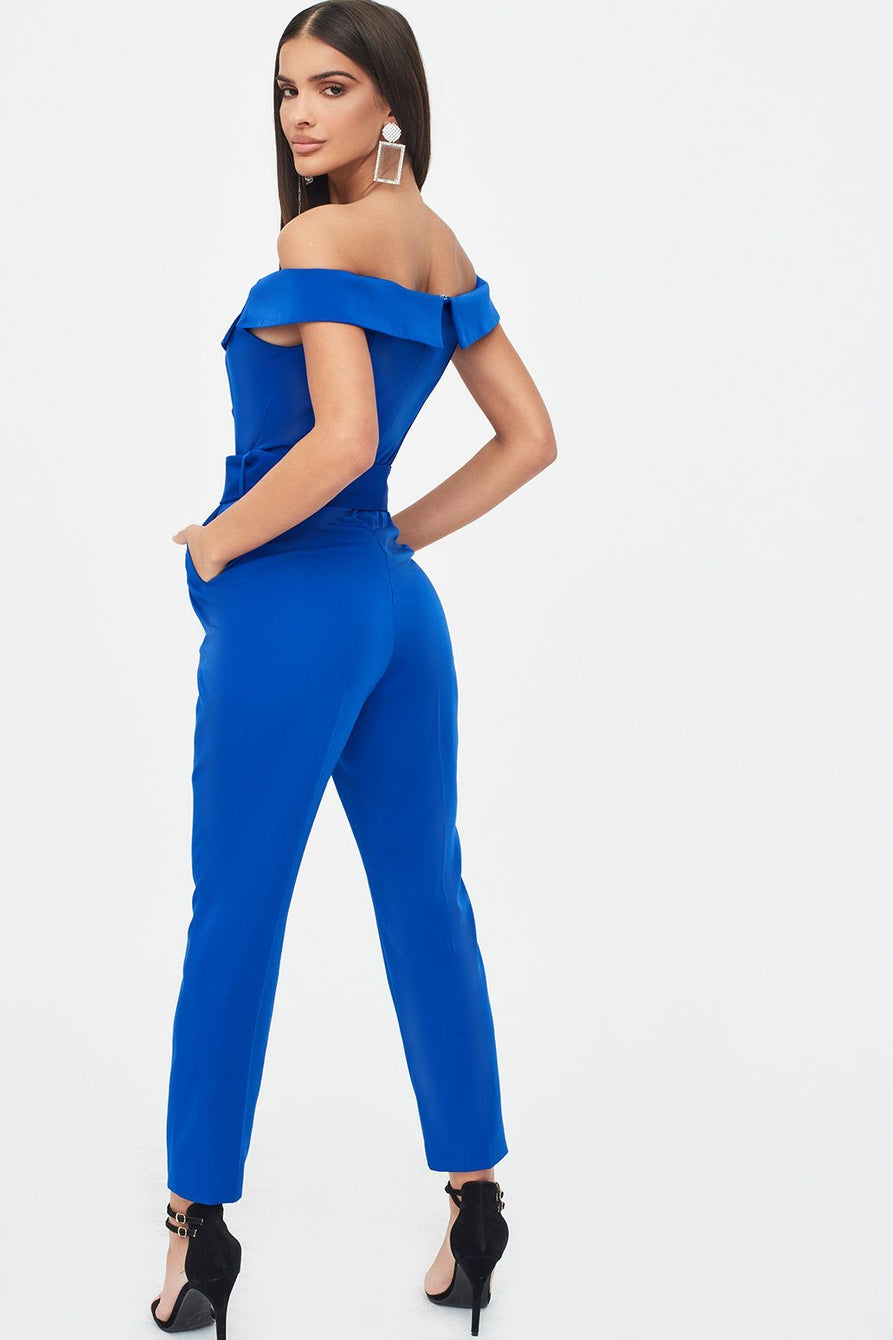 Off Shoulder Tux Jumpsuit in Cobalt Blue with Diamante Belt