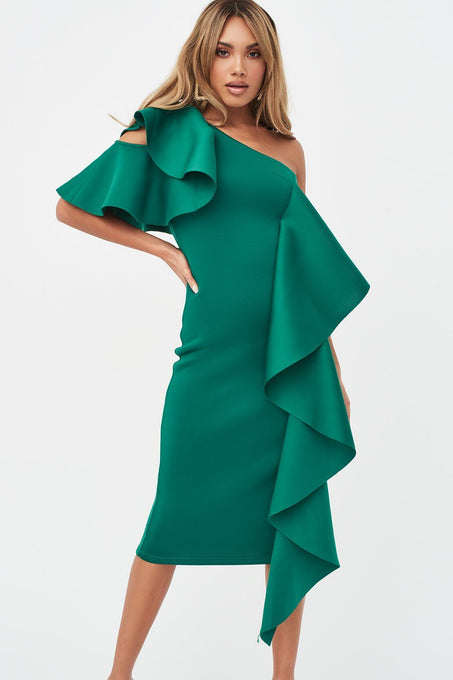 Ruffle Cold Shoulder Scuba Midi Dress in Green