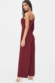 One Sleeve Bandeau Wide Leg Jumpsuit in Burgundy