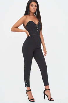 Rosie Connolly Underwired Bandeau Jumpsuit in Black