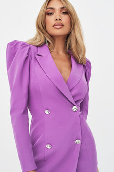 Rosie Connolly Statement Shoulder Blazer Dress in Purple