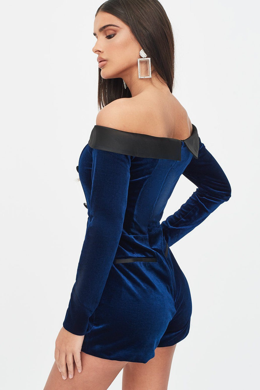 Rosie Connolly Velvet Off Shoulder Tuxedo Playsuit in Navy