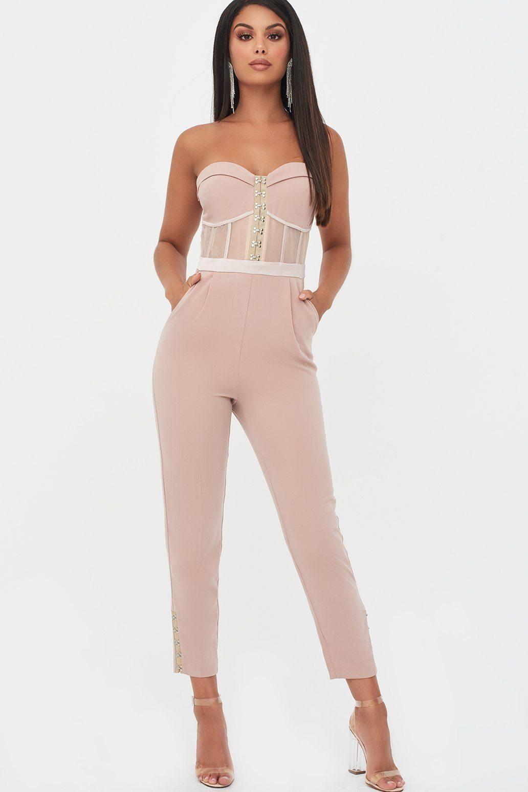 Rosie Connolly Sheer Contrast Bandeau Jumpsuit in Mink