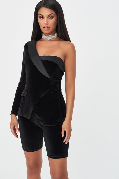 Velvet Tux Style Cycling Short Playsuit with Satin Lapel in Black
