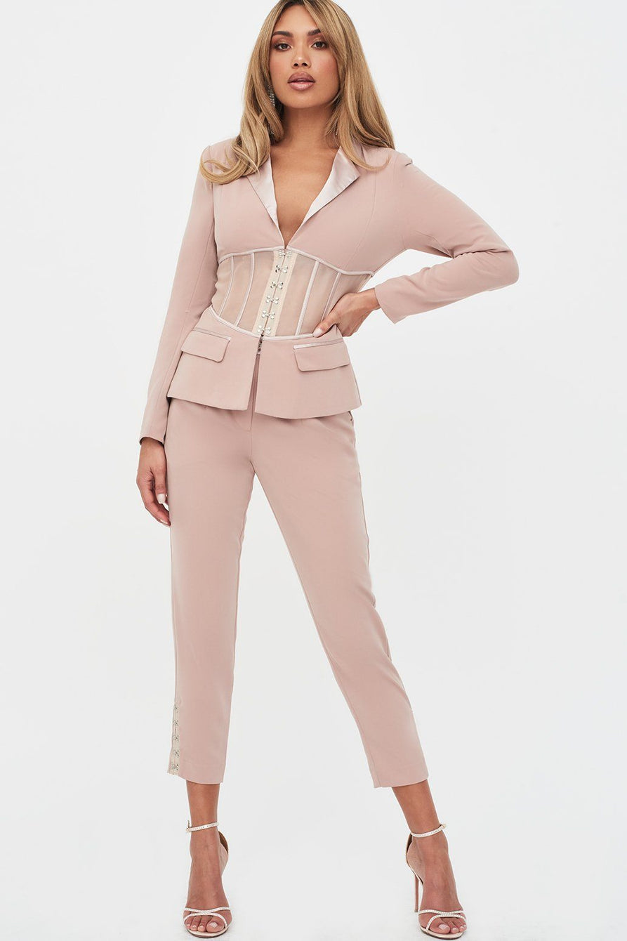 Pre-Order Rosie Connolly Sheer Corset Blazer in Mink