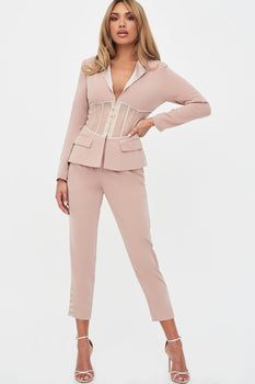 Rosie Connolly Sheer Corset Blazer in Mink