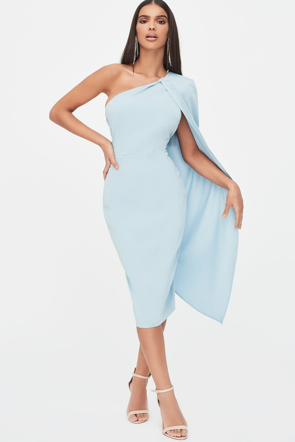 One Shoulder Cape Midi Dress in Dusty Blue