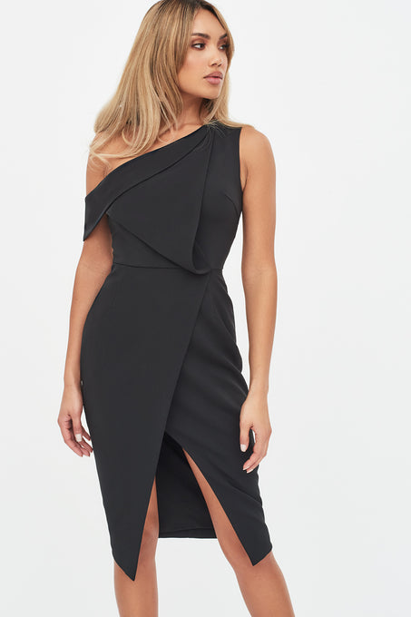 Folded Detail Wrap Dress in Black