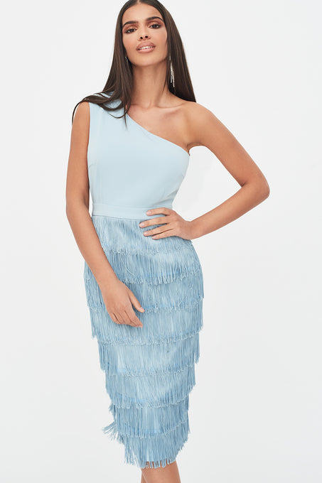 One Shoulder Fringe Midi Dress in Dusty Blue