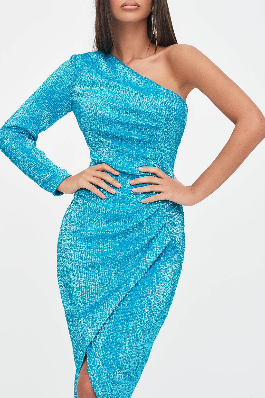 One Sleeve Ruched Sequin Midi Dress