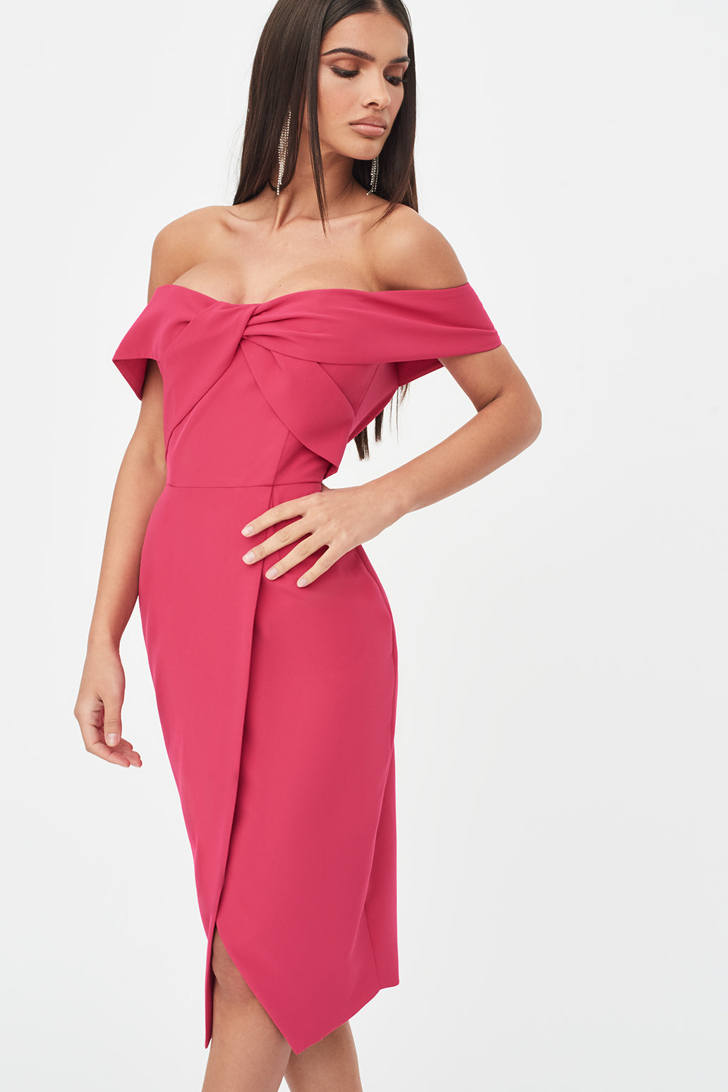 Woven Twist Bardot Midi Dress in Pink