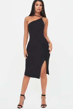 Strappy Split Side Midi Dress in Black