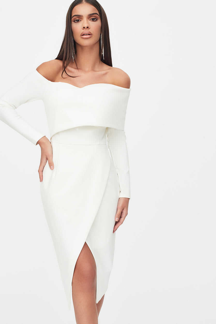 Bandage Shoulder Wrap Dress in White